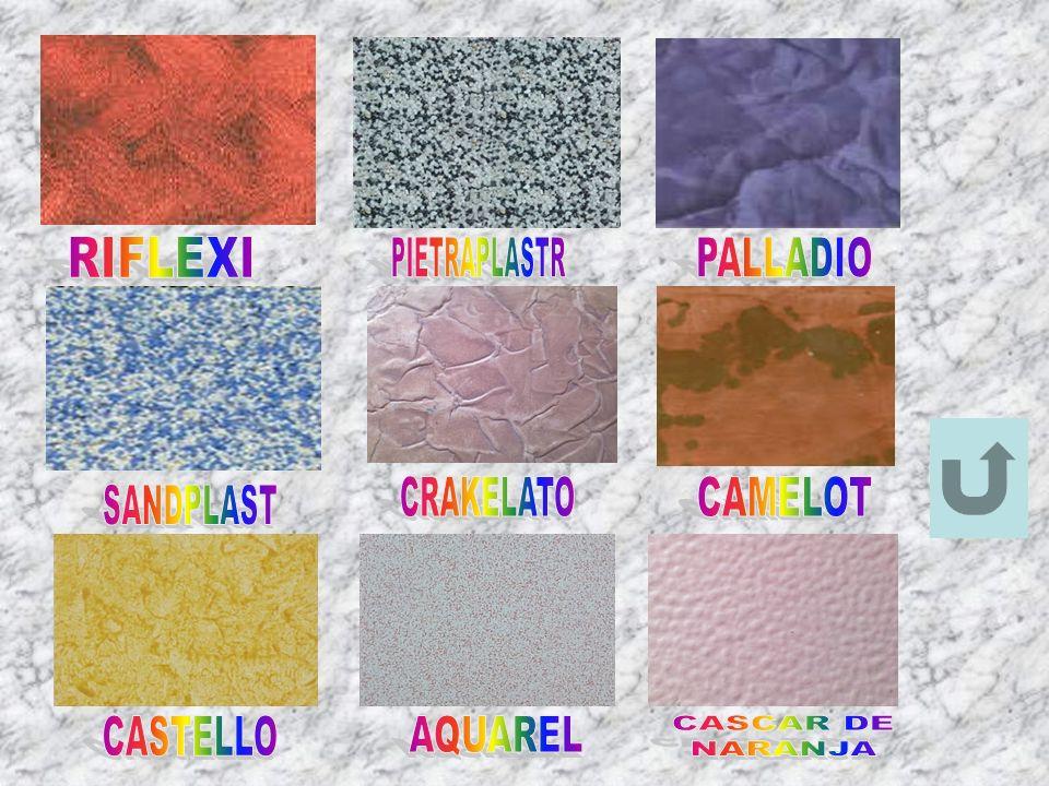 RIFLEXI PIETRAPLASTR PALLADIO CRAKELATO CAMELOT SANDPLAST CASTELLO AQUAREL CASCAR DE NARANJA