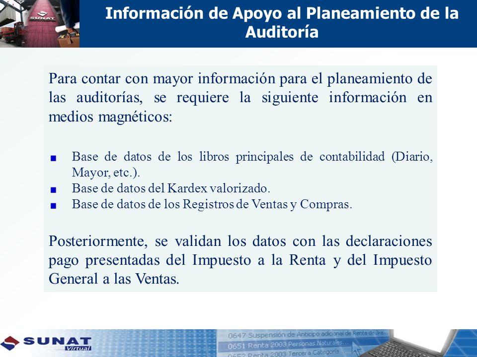 Información de Apoyo al Planeamiento de la Auditoría