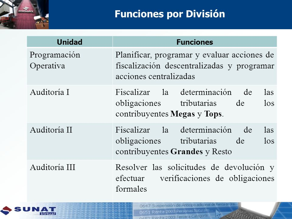 Funciones por División