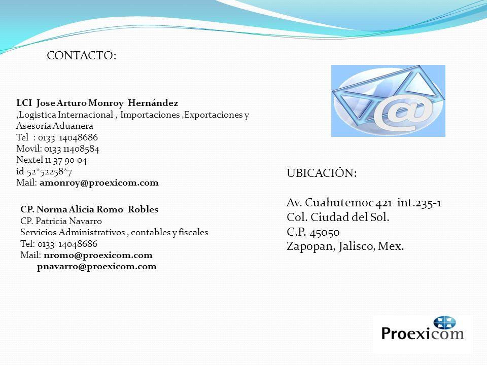CONTACTO: UBICACIÓN: Av. Cuahutemoc 421 int.235-1 Col. Ciudad del Sol.