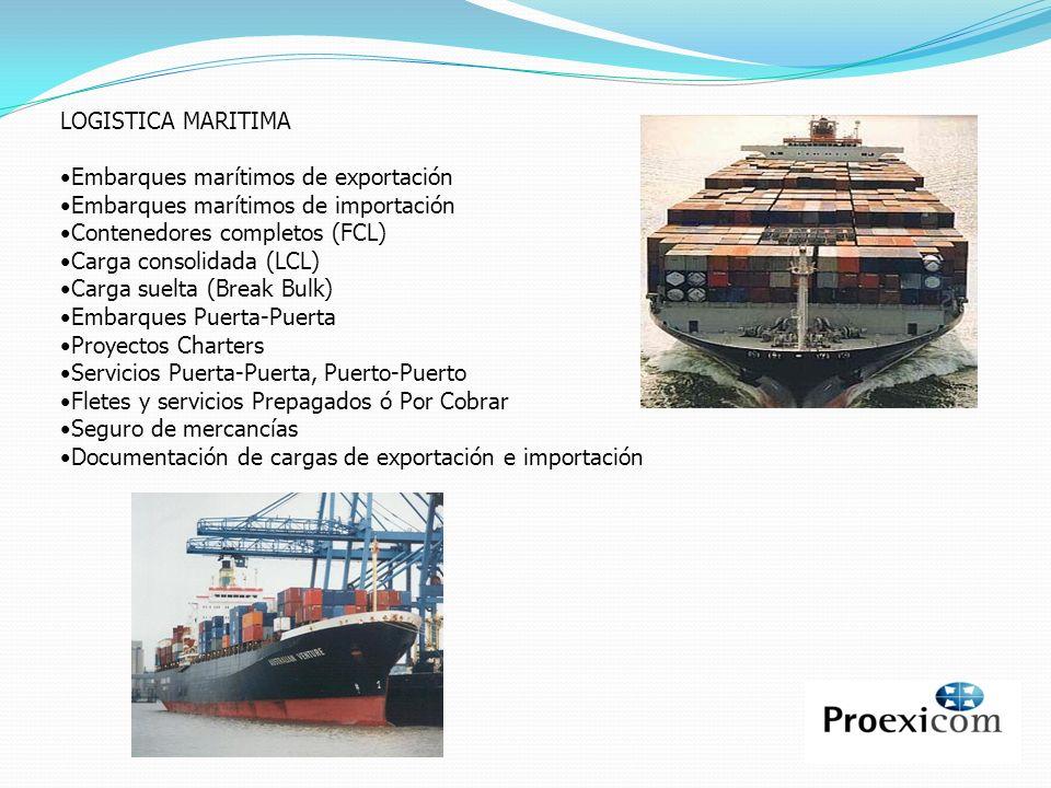 LOGISTICA MARITIMA Embarques marítimos de exportación. Embarques marítimos de importación. Contenedores completos (FCL)