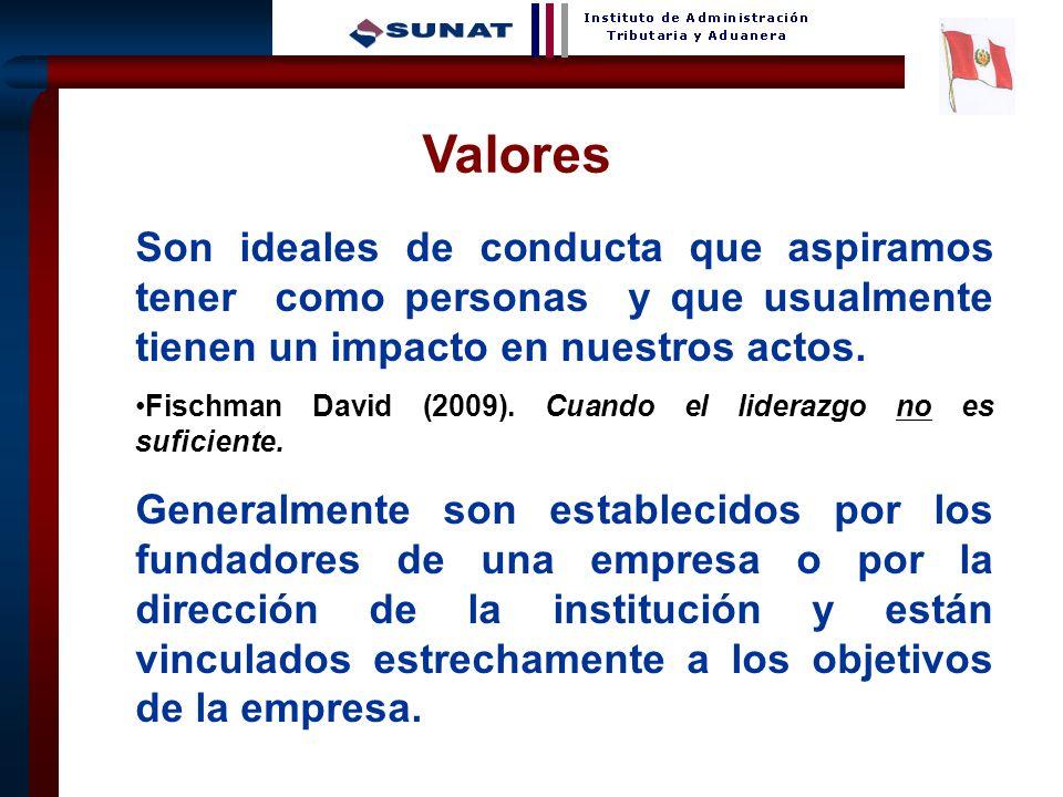 Valores Son ideales de conducta que aspiramos tener como personas y que usualmente tienen un impacto en nuestros actos.