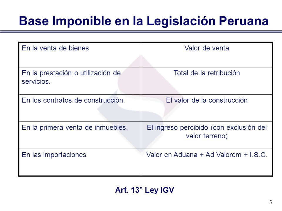 Base Imponible en la Legislación Peruana