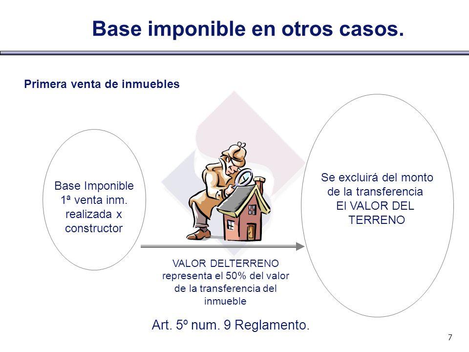 Base imponible en otros casos.