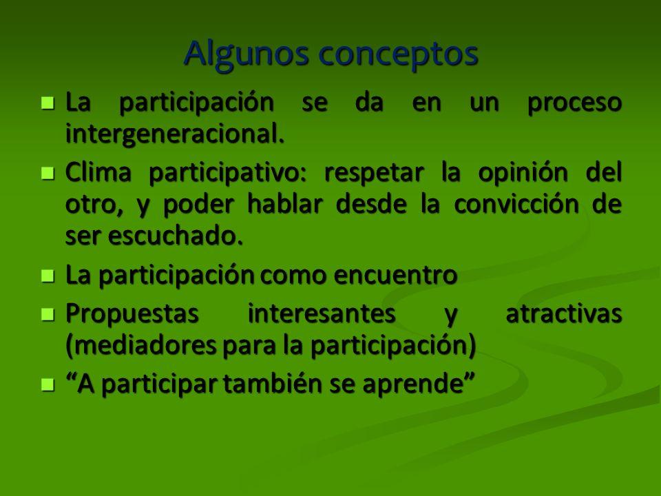 Algunos conceptos La participación se da en un proceso intergeneracional.