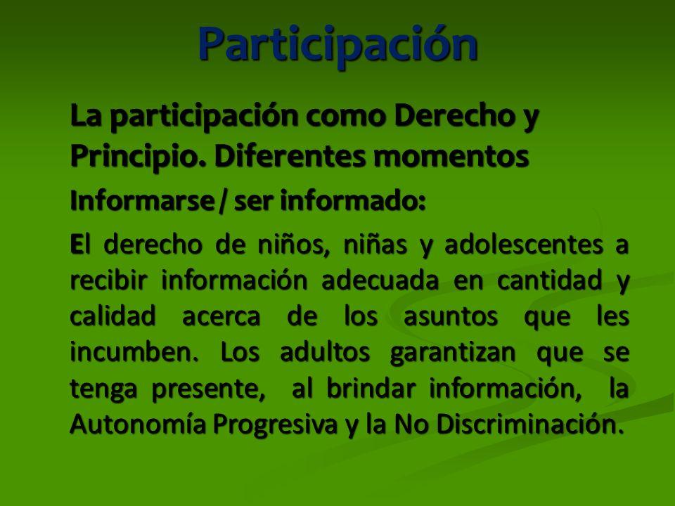 Participación La participación como Derecho y Principio. Diferentes momentos. Informarse / ser informado: