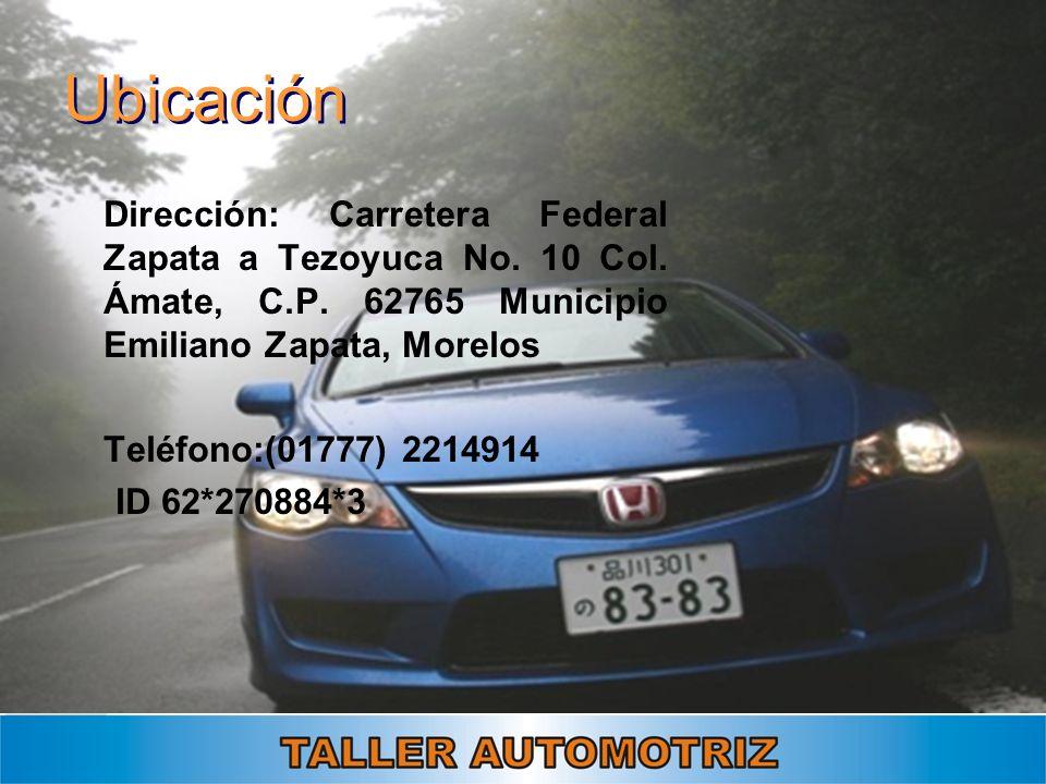 Ubicación Dirección: Carretera Federal Zapata a Tezoyuca No. 10 Col. Ámate, C.P. 62765 Municipio Emiliano Zapata, Morelos.