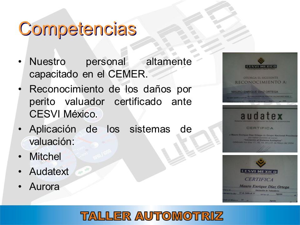Competencias Nuestro personal altamente capacitado en el CEMER.