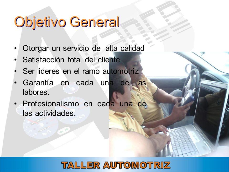 Objetivo General Otorgar un servicio de alta calidad