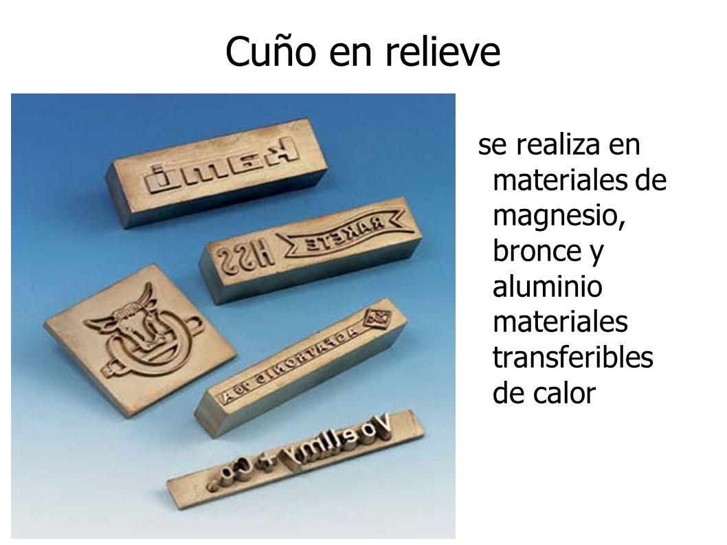 Cuño en relieve se realiza en materiales de magnesio, bronce y aluminio materiales transferibles de calor.