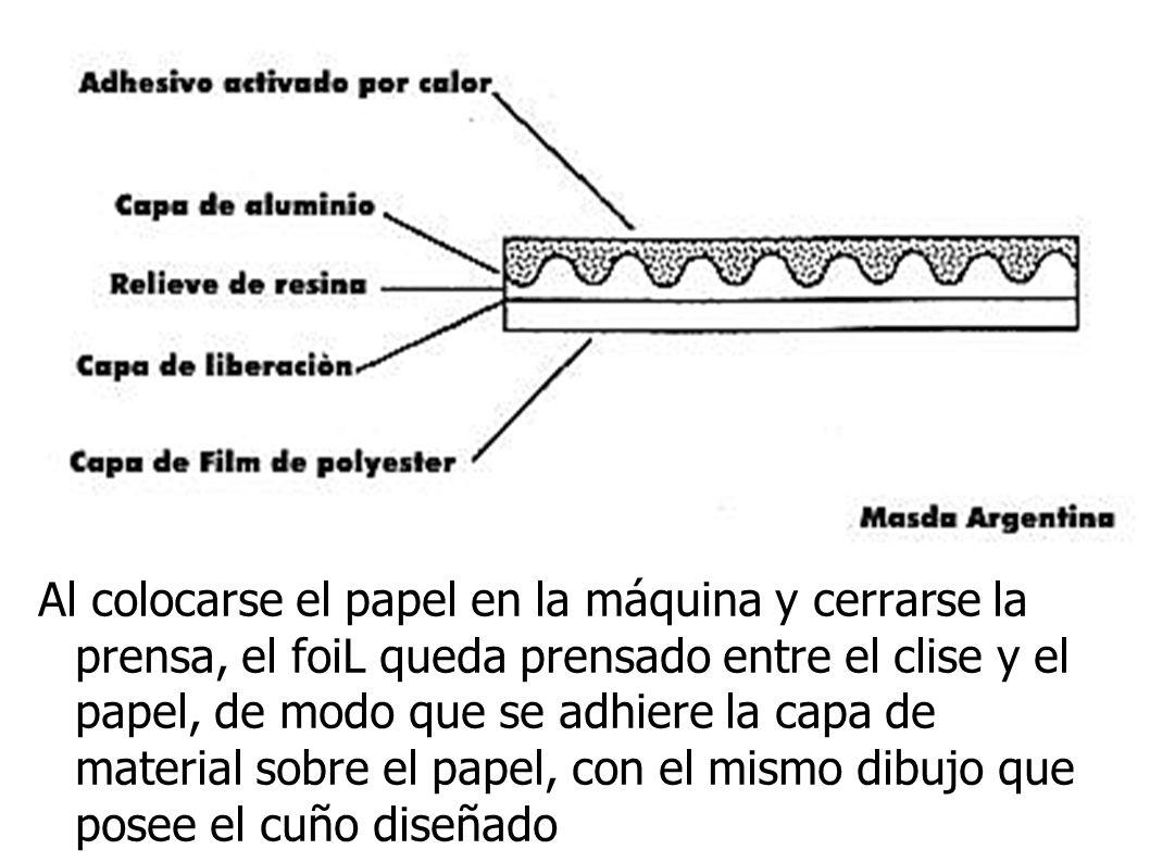 Al colocarse el papel en la máquina y cerrarse la prensa, el foiL queda prensado entre el clise y el papel, de modo que se adhiere la capa de material sobre el papel, con el mismo dibujo que posee el cuño diseñado