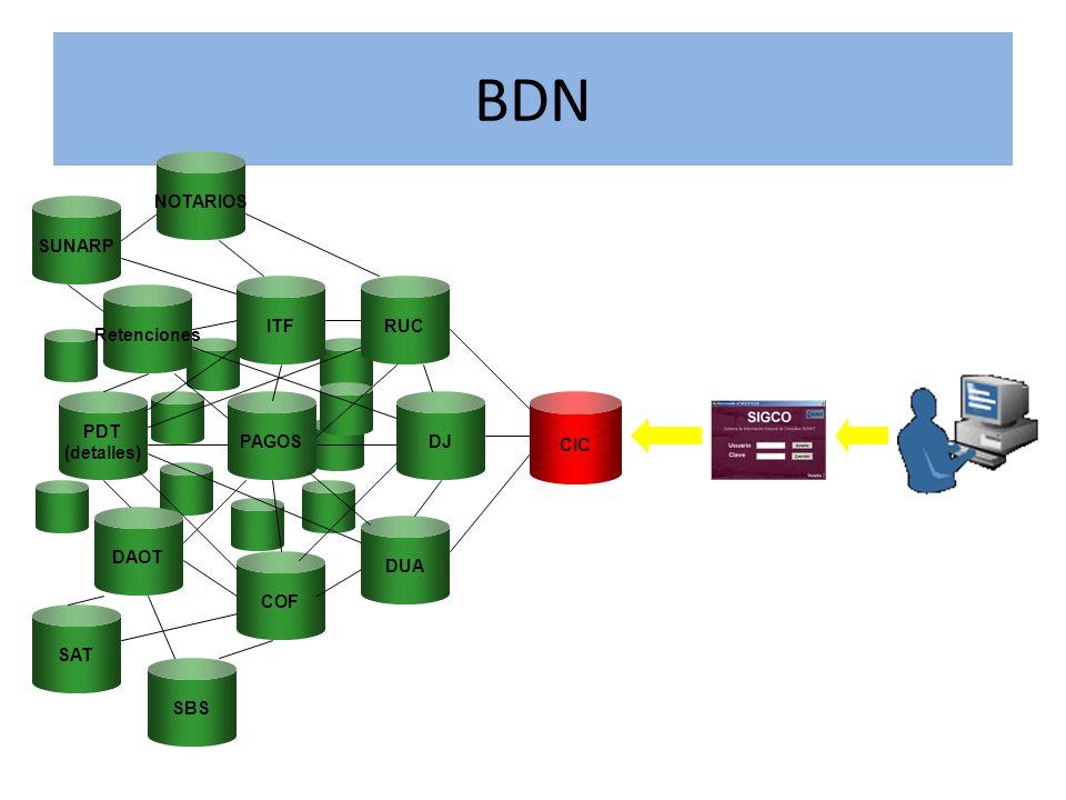 BDN Retenciones PDT (detalles) DAOT PAGOS ITF COF DUA DJ RUC CIC