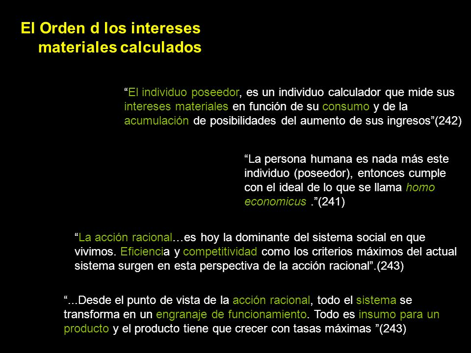 El Orden d los intereses materiales calculados