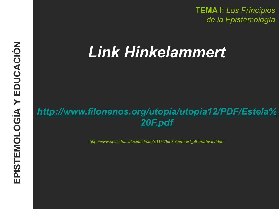 TEMA I: Los Principios de la Epistemología