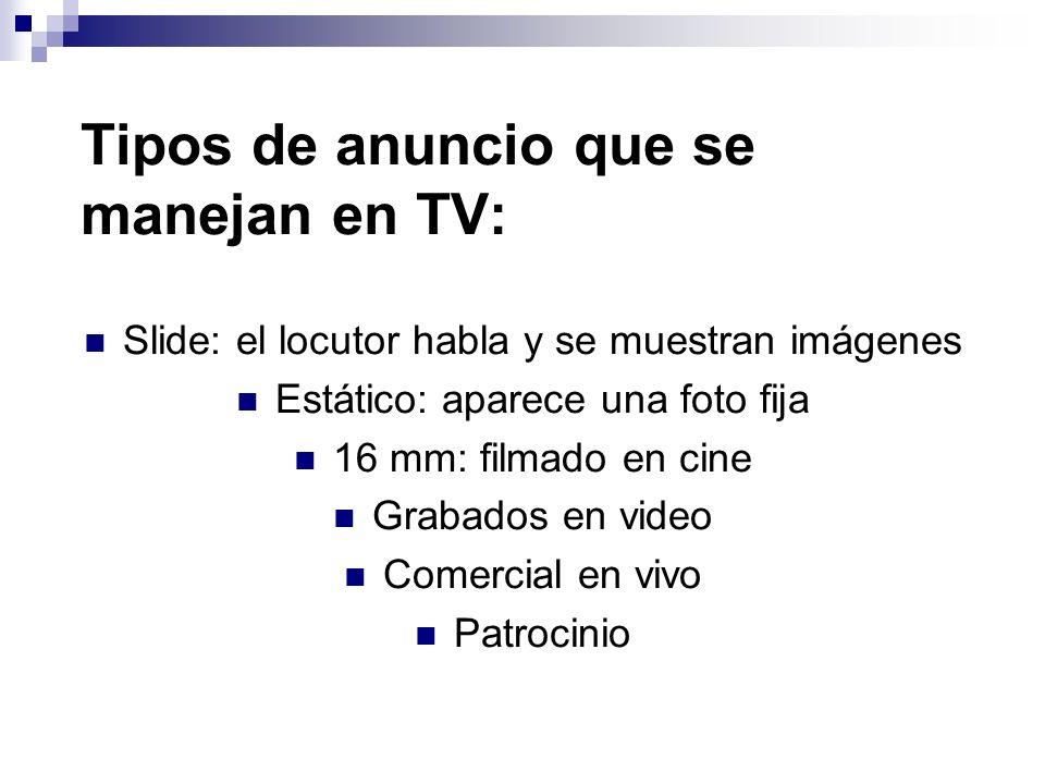 Tipos de anuncio que se manejan en TV: