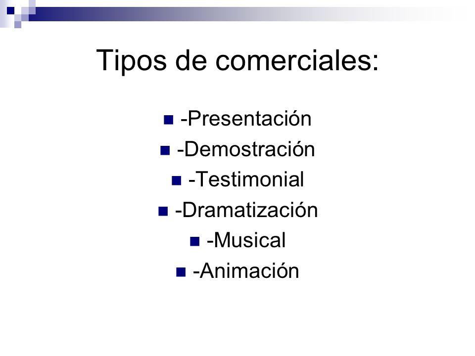 Tipos de comerciales: -Presentación -Demostración -Testimonial
