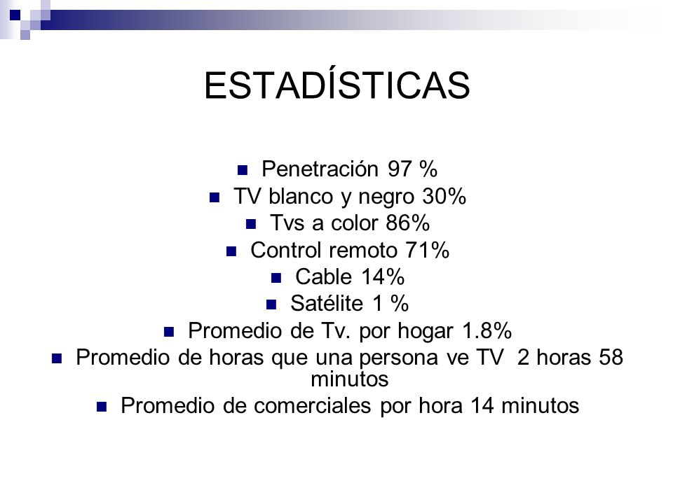 ESTADÍSTICAS Penetración 97 % TV blanco y negro 30% Tvs a color 86%