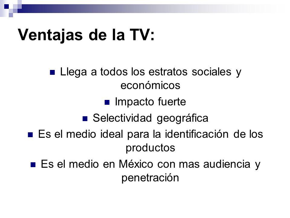 Ventajas de la TV: Llega a todos los estratos sociales y económicos
