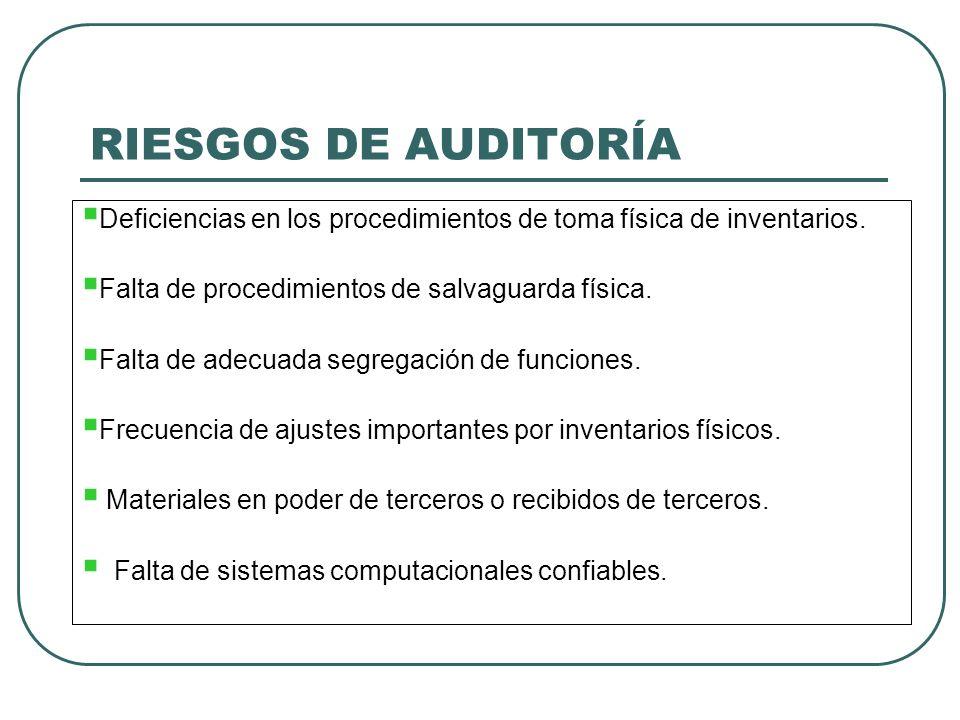 RIESGOS DE AUDITORÍA Deficiencias en los procedimientos de toma física de inventarios. Falta de procedimientos de salvaguarda física.