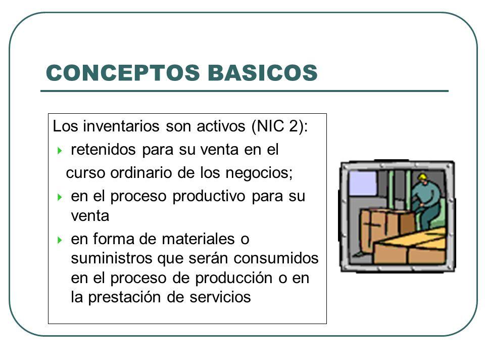 CONCEPTOS BASICOS Los inventarios son activos (NIC 2):