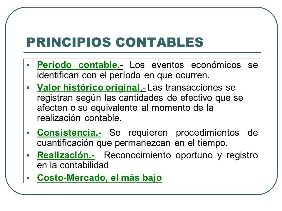 PRINCIPIOS CONTABLES Período contable.- Los eventos económicos se identifican con el período en que ocurren.