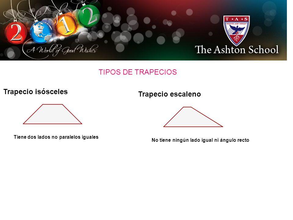 TIPOS DE TRAPECIOS Trapecio isósceles Trapecio escaleno