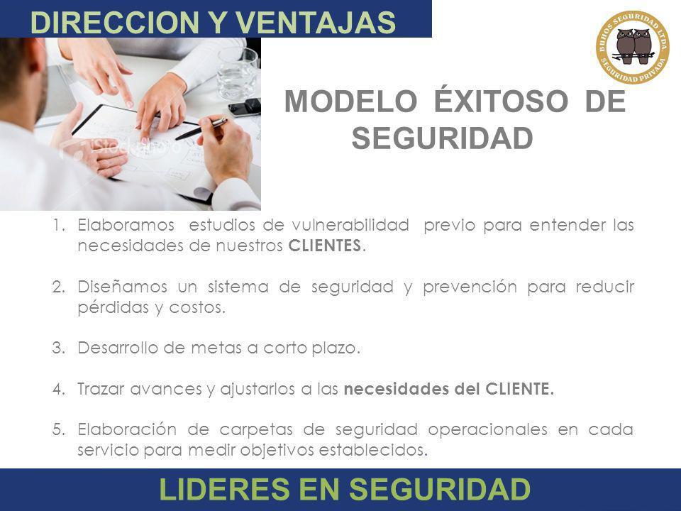 DIRECCION Y VENTAJAS MODELO ÉXITOSO DE SEGURIDAD LIDERES EN SEGURIDAD