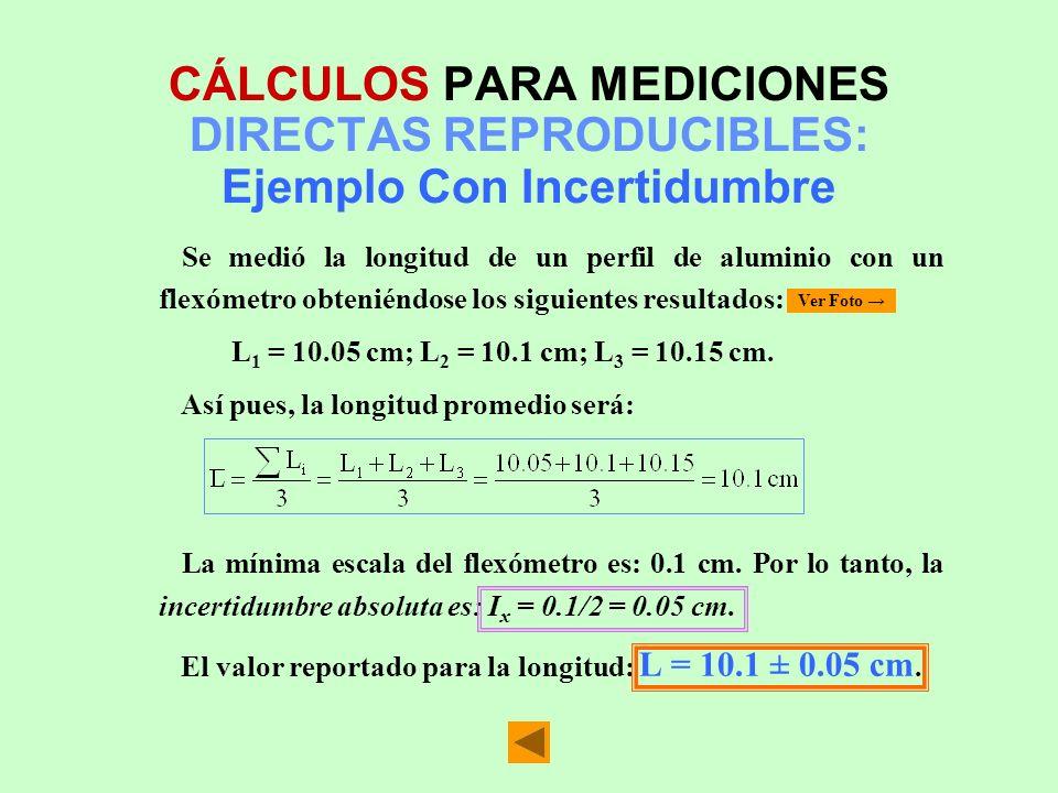 CÁLCULOS PARA MEDICIONES DIRECTAS REPRODUCIBLES: Ejemplo Con Incertidumbre
