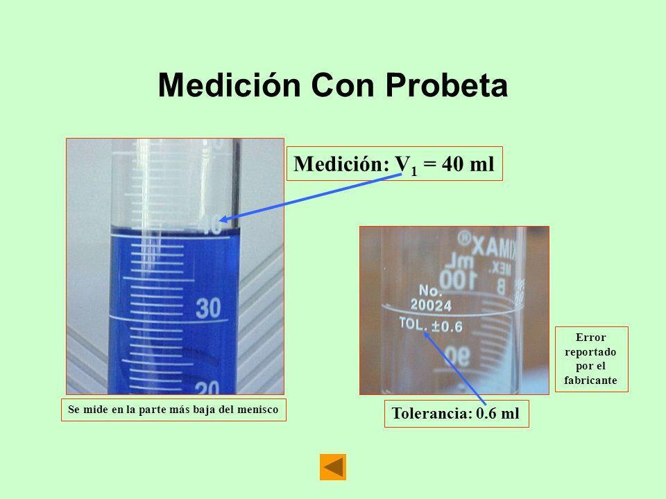 Medición Con Probeta Medición: V1 = 40 ml Tolerancia: 0.6 ml Error