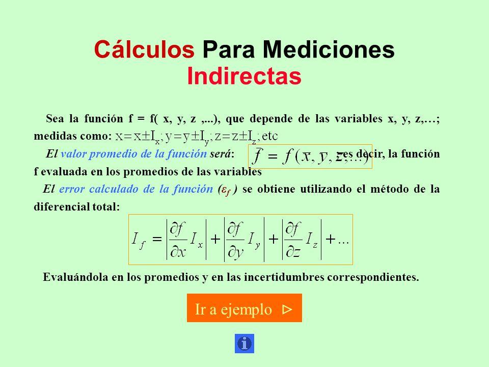Cálculos Para Mediciones Indirectas