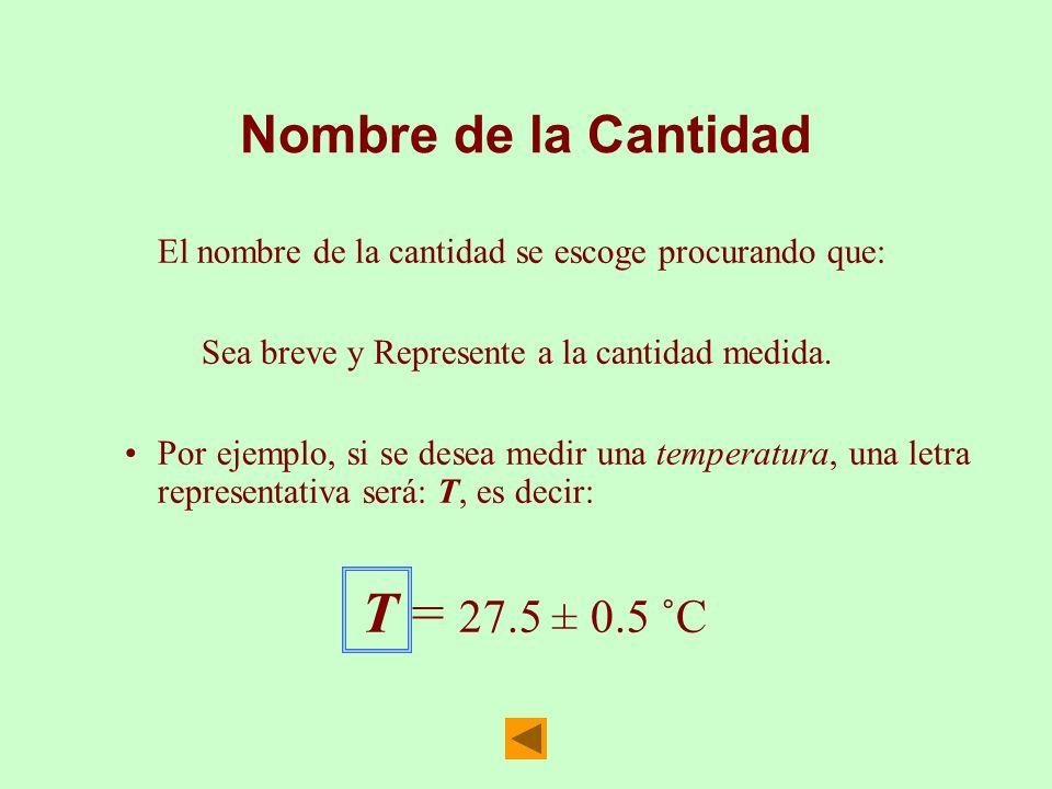 Nombre de la CantidadEl nombre de la cantidad se escoge procurando que: Sea breve y Represente a la cantidad medida.
