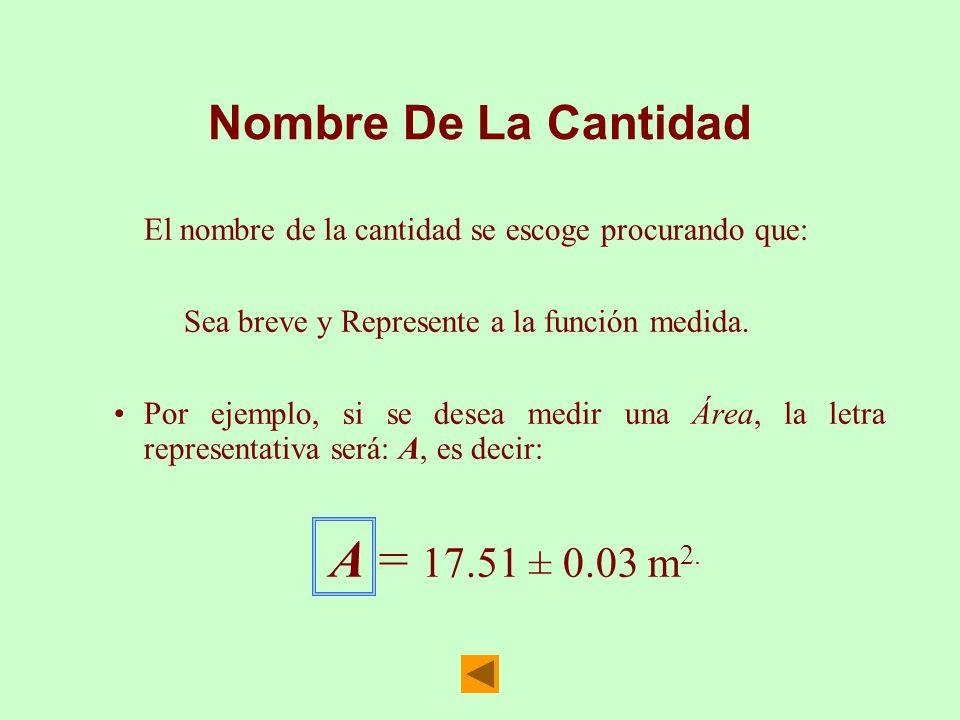 Nombre De La Cantidad El nombre de la cantidad se escoge procurando que: Sea breve y Represente a la función medida.
