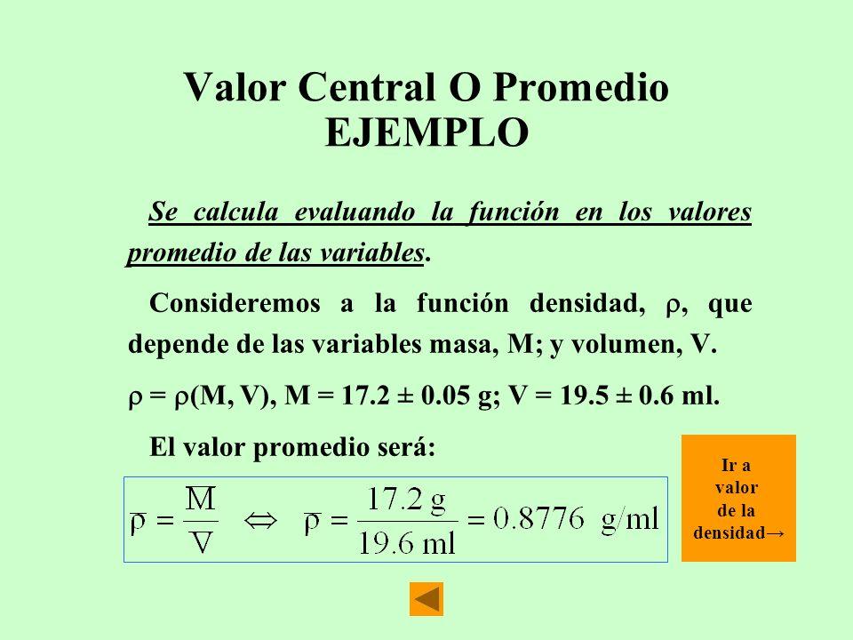 Valor Central O Promedio EJEMPLO