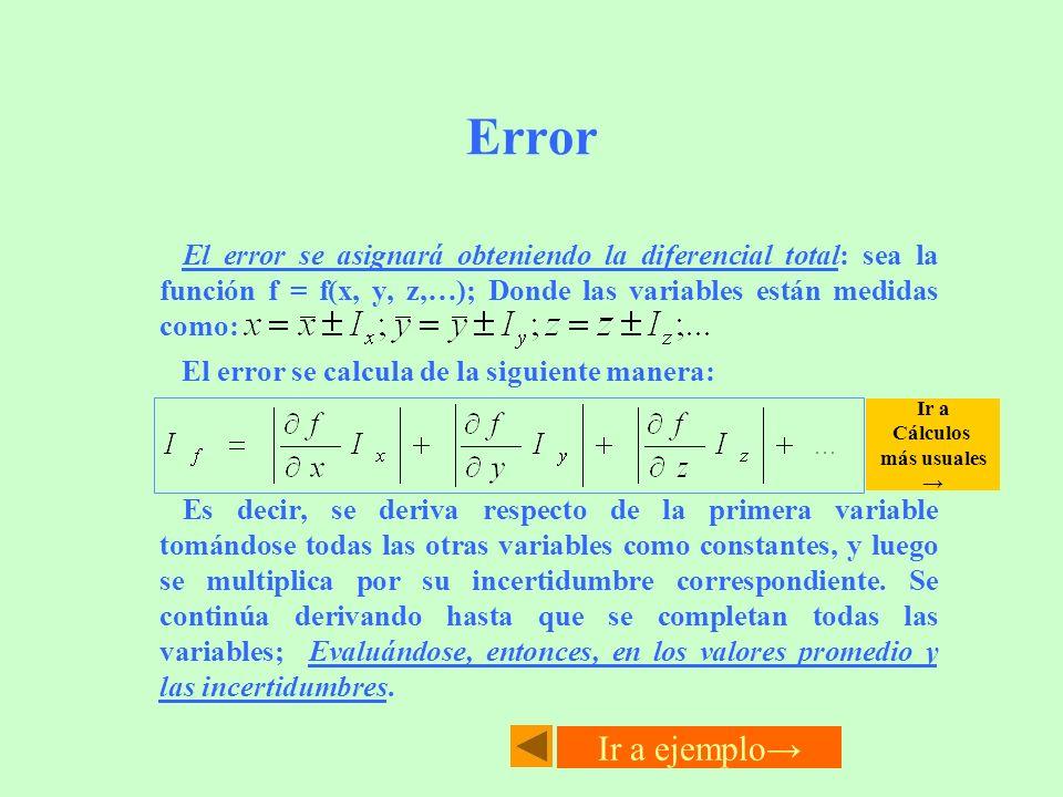 ErrorEl error se asignará obteniendo la diferencial total: sea la función f = f(x, y, z,…); Donde las variables están medidas como: