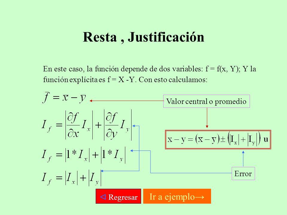 Resta , Justificación  Regresar Ir a ejemplo→