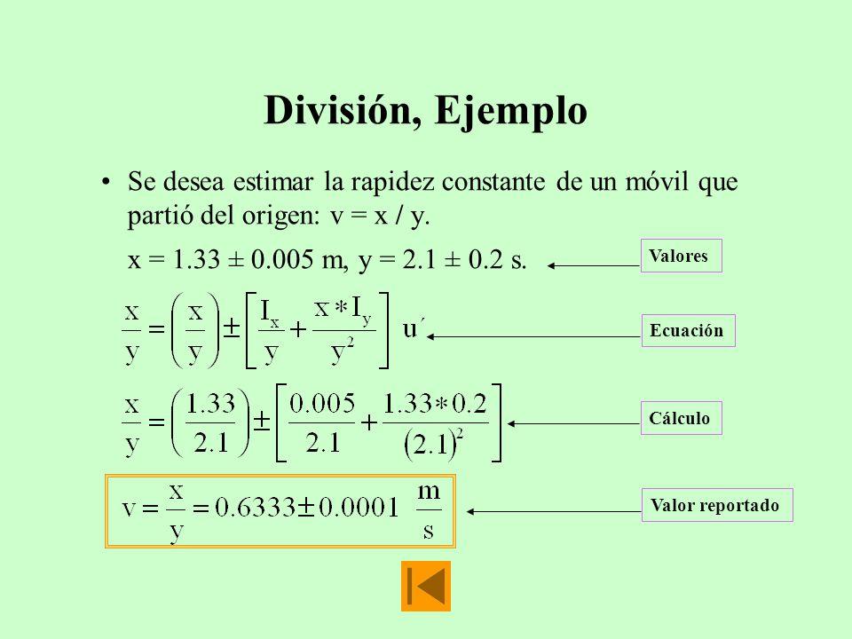 División, Ejemplo Se desea estimar la rapidez constante de un móvil que partió del origen: v = x / y.