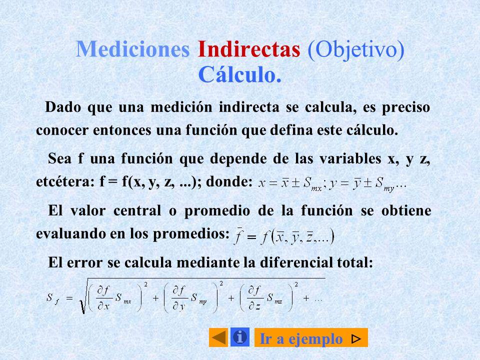 Mediciones Indirectas (Objetivo) Cálculo.