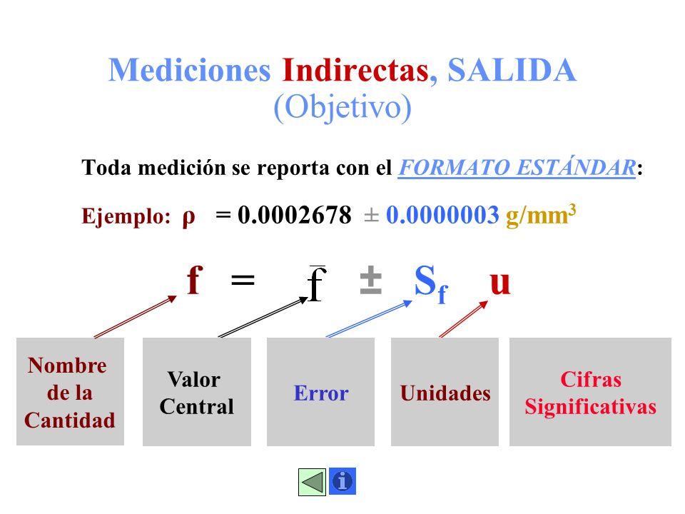 Mediciones Indirectas, SALIDA (Objetivo)