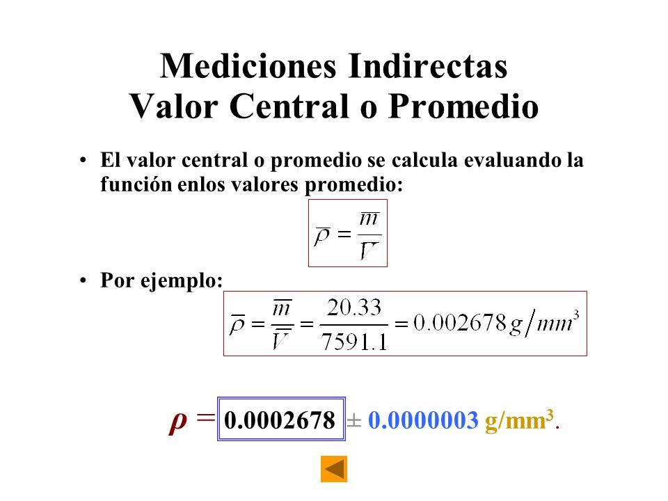 Mediciones Indirectas Valor Central o Promedio