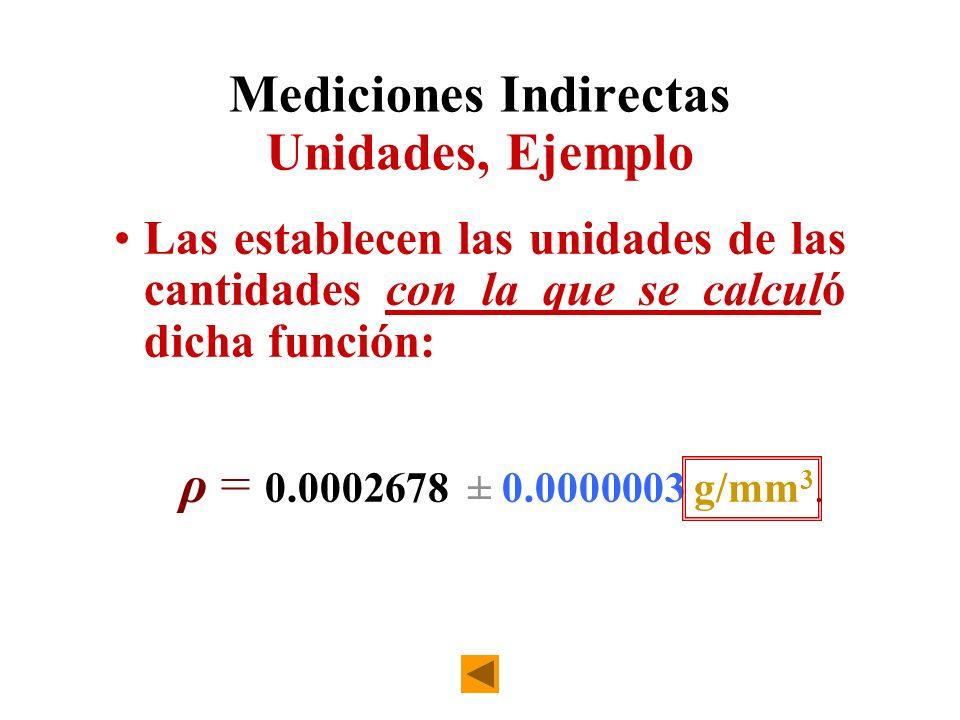 Mediciones Indirectas Unidades, Ejemplo