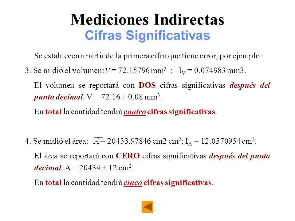 Mediciones Indirectas Cifras Significativas