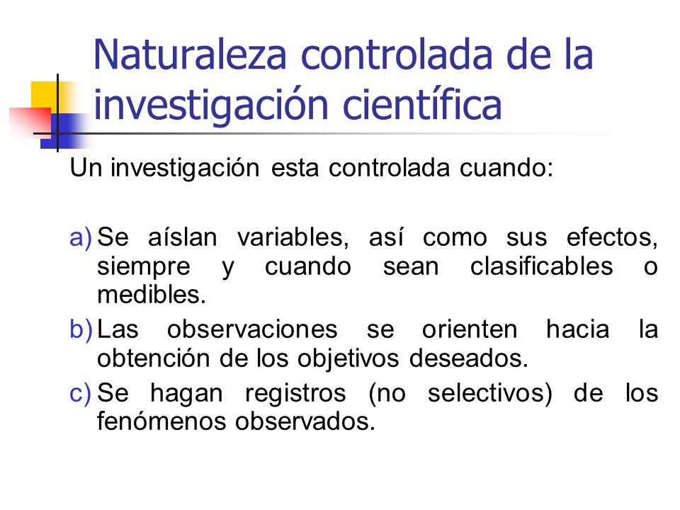 Naturaleza controlada de la investigación científica