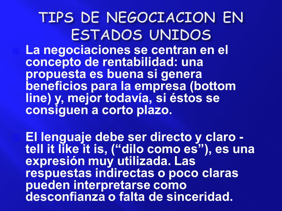 TIPS DE NEGOCIACION EN ESTADOS UNIDOS
