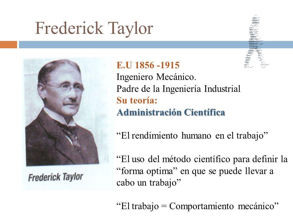 Frederick Taylor E.U 1856 -1915 Ingeniero Mecánico.