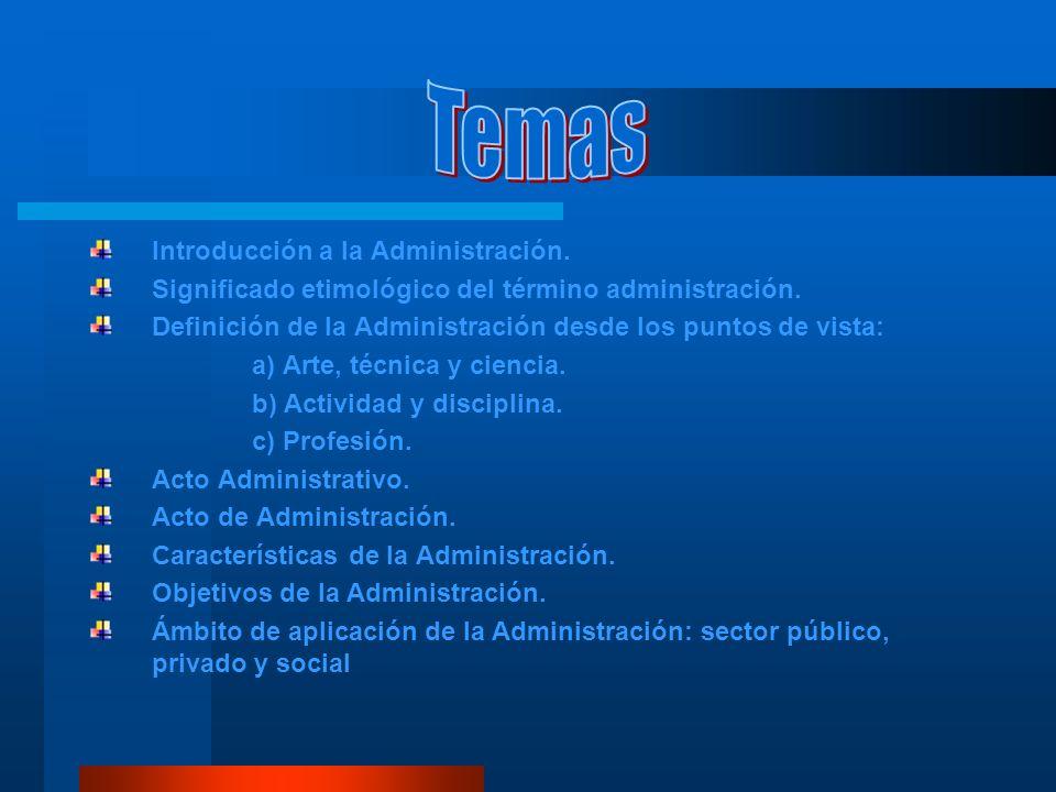 Temas Introducción a la Administración.
