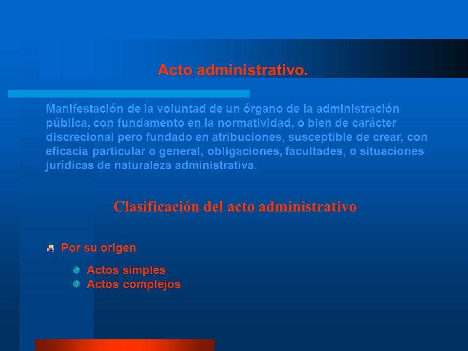Clasificación del acto administrativo