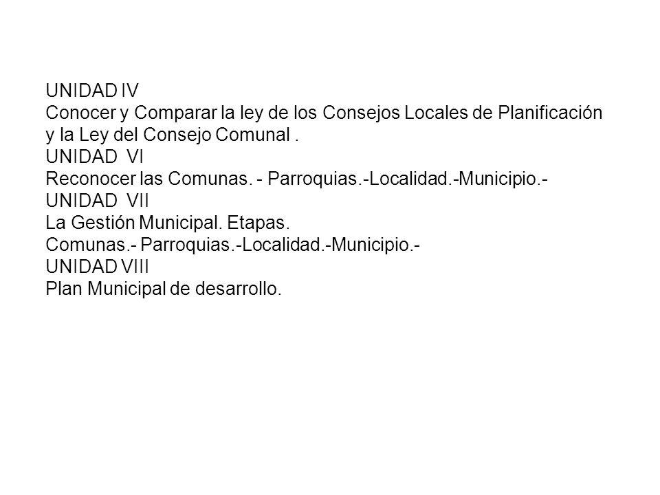 UNIDAD IVConocer y Comparar la ley de los Consejos Locales de Planificación y la Ley del Consejo Comunal .