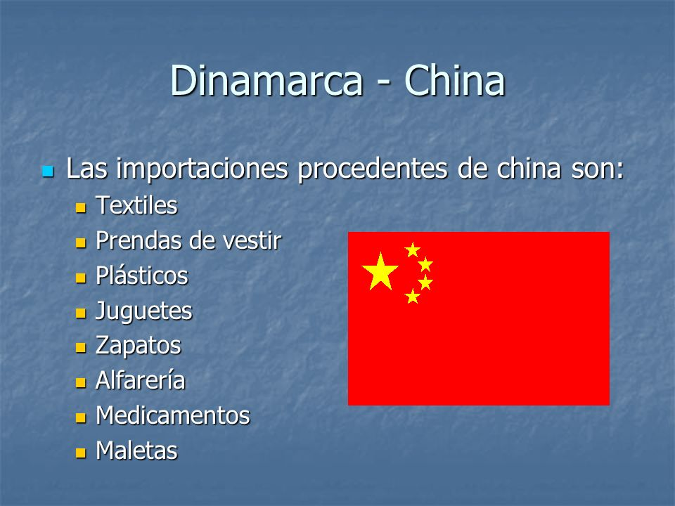 Dinamarca - China Las importaciones procedentes de china son: Textiles