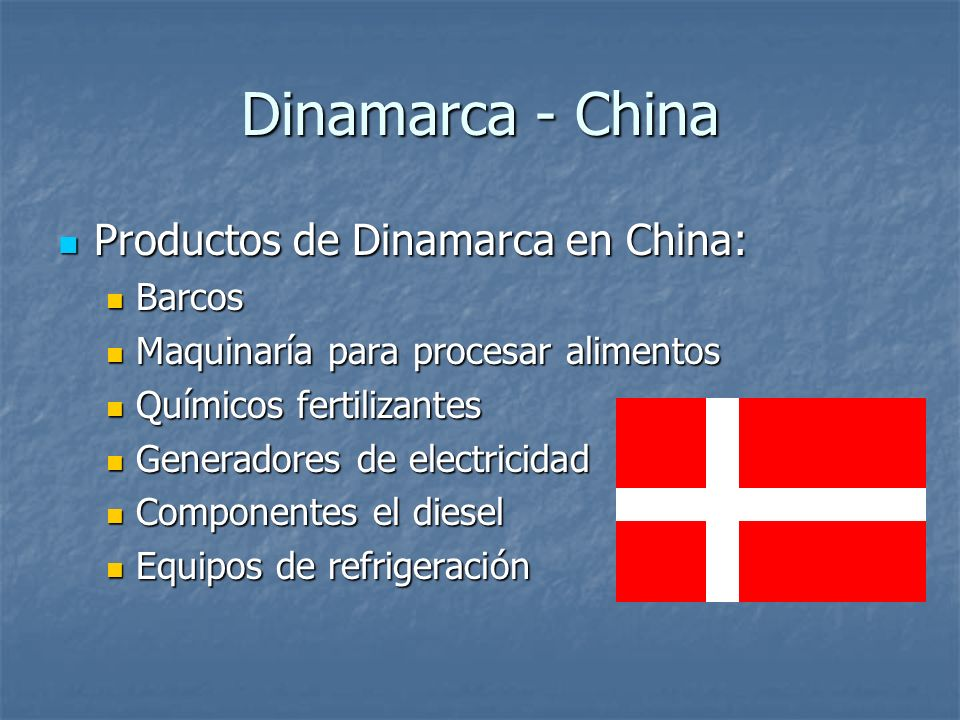 Dinamarca - China Productos de Dinamarca en China: Barcos