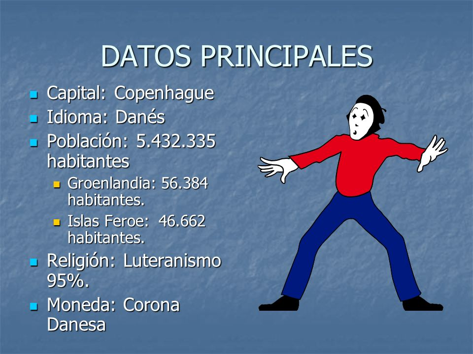 DATOS PRINCIPALES Capital: Copenhague Idioma: Danés